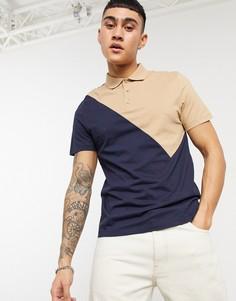 Темно-синяя футболка-поло из органического хлопка с ассиметричным шевронным узором ASOS DESIGN-Темно-синий