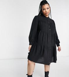 Темно-серое ярусное платье из ткани шамбре Yours-Серый