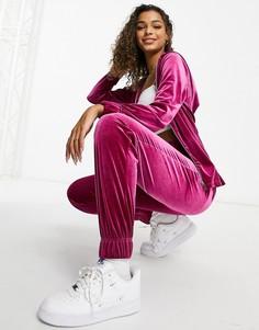 Розовый велюровый комплект из удлиненного oversized-худи и джоггеров с широкими штанинами Moda Minx-Розовый цвет