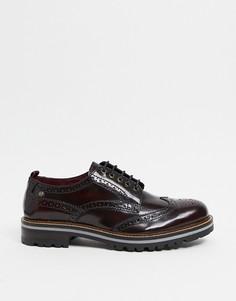 Бордовые блестящие ботинки-броги Base London Сolver-Красный