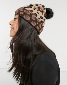 Длинная вязаная шапка-бини с леопардовым принтом и черным помпоном из искусственного меха Aldo-Коричневый цвет
