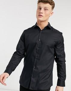 Черная приталенная рубашка из немнущейся ткани Selected Homme-Черный цвет