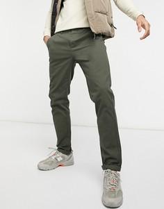 Узкие чиносы цвета хаки ASOS DESIGN-Зеленый цвет