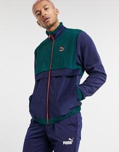 Темно-синяя флисовая куртка с вельветовыми вставками Puma-Многоцветный
