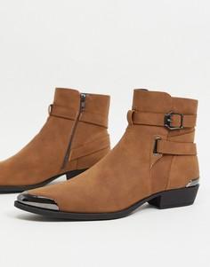 Рыже-коричневые ботинки челси из искусственной замши в стиле вестерн на прямом каблуке и с пряжкой ASOS DESIGN-Светло-коричневый
