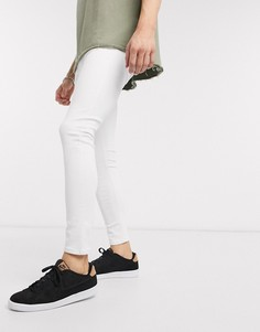 Белые супероблегающие джинсы Bershka-Белый