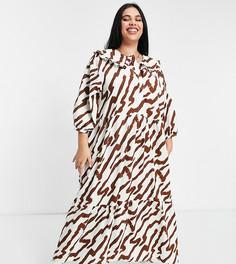 Свободное платье макси с многоярусной юбкой, отложным воротником и тигровым принтом телесного цвета Glamorous Curve-Кремовый