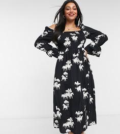 Платье миди с квадратным вырезом, присборенной юбкой и принтом лошадей Never Fully Dressed Plus-Многоцветный