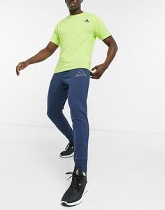 Темно-синие джоггеры с контурным логотипом adidas Training-Темно-синий
