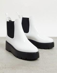 Белые резиновые ботинки челси на массивной подошве ASOS DESIGN-Белый