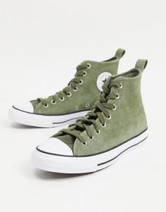 Замшевые кроссовки цвета хаки Converse Chuck Taylor All Star Hi Mountain Club-Зеленый цвет