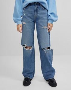 Рваные выбеленные синие джинсы в стиле 90-х Bershka-Голубой