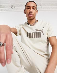 Бежевая футболка PUMA essentials-Коричневый цвет