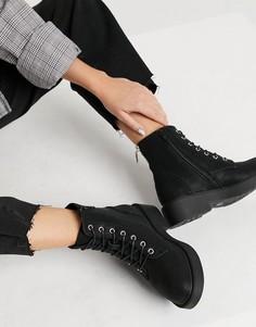 Черный байкерские ботинки на шнуровке New Look-Черный цвет