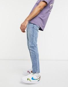 Голубые джинсы скинни Bershka-Голубой
