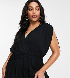 Черное пляжное платье макси из переработанных материалов со сборками ASOS DESIGN Curve-Черный цвет