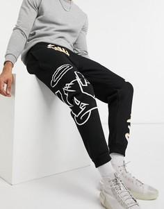 Черные джоггеры с рисунком в стиле граффити Bershka-Черный цвет