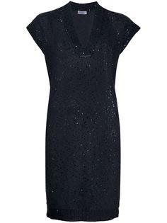 Brunello Cucinelli трикотажное платье с вышивкой пайетками