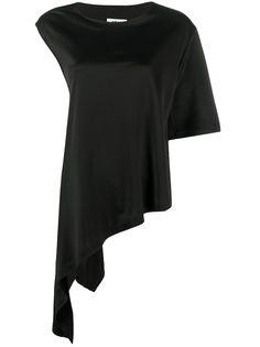 MM6 Maison Margiela футболка асимметричного кроя с круглым вырезом