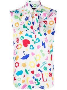 Love Moschino рубашка с принтом и бантом