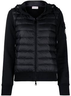 Moncler куртка с дутыми вставками и капюшоном