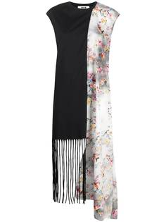 MSGM floral-print panelled midi dress