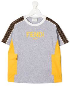 Fendi Kids футболка с накладным карманом и логотипом