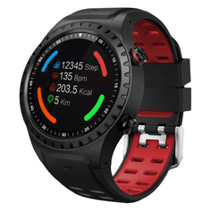 """Смарт-часы GEOZON Sprint, 45мм, 1.3"""", черный / черный/красный [g-sm02blkr]"""