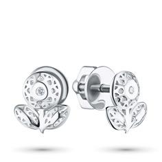 Пусеты из серебра с бриллиантом э0601пс04201589 ЭПЛ Якутские Бриллианты