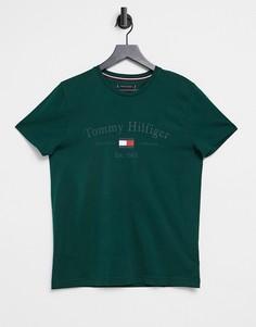 Зеленая футболка с логотипом на груди Tommy Hilfiger-Зеленый цвет