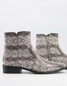 Серые кожаные ботинки со змеиным принтом Topman-Серый