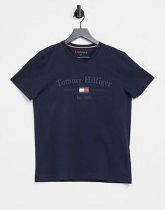 Футболка темно-синего цвета с логотипом на груди Tommy Hilfiger-Темно-синий