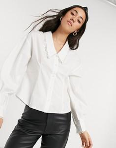 Белая рубашка с воротником Selected Femme-Белый