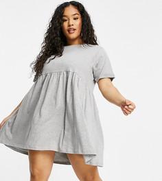 Серое свободное платье Lara от Brave Soul Plus-Серый