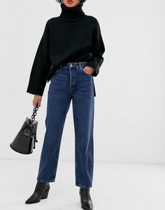 Синие выбеленные джинсы прямого кроя с завышенной талией из органического хлопка Selected Femme-Синий