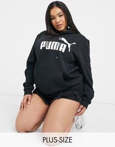 Худи черного цвета с большим логотипом Puma essentials-Черный