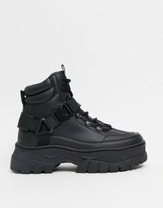 Черные ботинки на массивной подошве из искусственной кожи со шнуровкой ASOS DESIGN-Черный