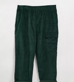 Темно-зеленые укороченные вельветовые брюки свободного кроя ASOS DESIGN Plus-Зеленый цвет