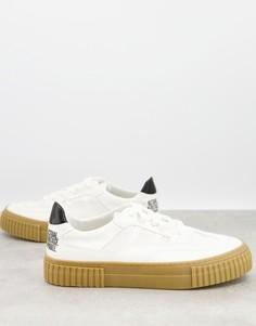 Белые кроссовки на шнуровке из материалов экологичной моды ASOS DESIGN-Белый