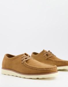 Светло-коричневые ботинки из искусственной замши со шнуровкой ASOS DESIGN-Светло-коричневый