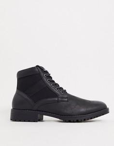 Черные ботинки из искусственной кожи на шнуровке ASOS DESIGN Vegan-Черный цвет
