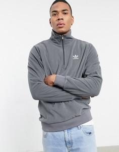 Флисовый свитшот цвета темно-серый вереск с воротником на молнии adidas Originals