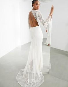 Свадебное платье со вставками из бисера ASOS EDITION Lucy-Белый