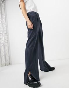Брюки с широкими штанинами в тонкую полоску Selected Femme-Многоцветный