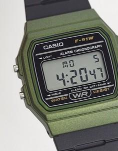 Цифровые часы в стиле унисекс с силиконовым ремешком черного и зеленого цвета Casio F-91WM-3AEF Unisex-Черный цвет
