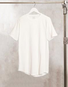 Белая удлиненная футболка с неровным краем River Island-Белый