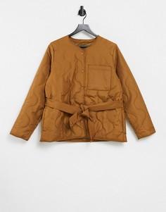 Коричневая стеганая куртка с поясом Selected-Коричневый цвет