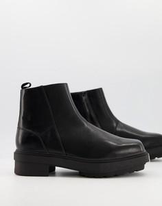 Ботинки челси на массивной подошве без застежки с металлическим носком ASOS DESIGN-Черный цвет