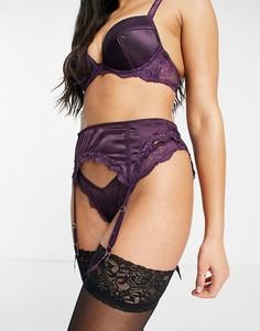 Фиолетовый пояс для чулок из атласа и кружева ASOS DESIGN Fliss-Сиреневый
