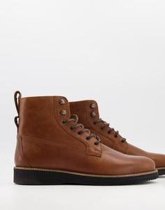 Светло-коричневые кожаные ботинки со шнуровкой на подошве-танкетке ASOS DESIGN-Светло-коричневый